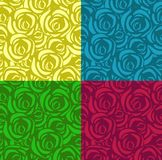Set of seamless patterns with roses in different colors. Applicable for textiles, wrapping paper and other. Vector royalty free illustration