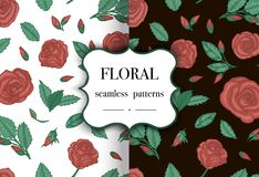Set of repeating patterns with roses stock illustration