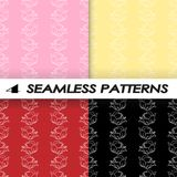 Set of seamless patterns with roses in flat style. Vector illustration Royalty Free Stock Photo