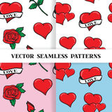 Set of seamless patterns with roses and hearts. In the old school style for the Wedding and Valentines Day background for invitation. Vector illustration EPS 10 Stock Photo