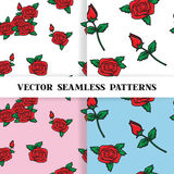 Set of seamless patterns with roses in the old. School style for the Wedding and Valentines Day background for invitation. Vector illustration EPS 10 Royalty Free Stock Images