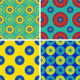 Set of seamless patterns with round elements. Royalty Free Stock Image