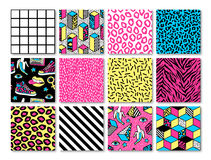 Set of seamless patterns in 80s-90s memphis style. Memphis seamless patterns with geometric, animals, grid, striped and other elements for fashion, wallpapers Royalty Free Stock Image