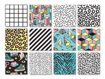 Set of seamless patterns in 80s-90s memphis style. Memphis seamless patterns with geometric, animals, grid, striped and other elements for fashion, wallpapers stock illustration