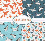 Set of seamless patterns. Sea and birds Stock Photo