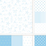 Set of sea seamless patterns Stock Photos
