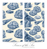 Set of seamless patterns with seashells drawn by hand with pencil Stock Photography