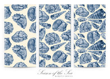 Set of seamless patterns with seashells drawn by hand with pencil Royalty Free Stock Photo