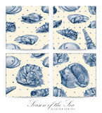 Set of seamless patterns with seashells drawn by hand with pencil Stock Photos