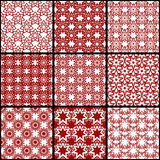 Set of seamless patterns of seven-pointed stars. Simple abstract geometrical backgrounds. Stock Photos