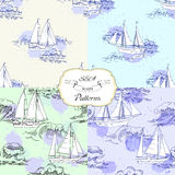 Set seamless patterns with ships Stock Photography