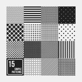 Set of 15 seamless patterns. Simple geometric design. Useful for textile design and wrapping Stock Photo