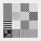 Set of 15 seamless patterns. Simple geometric design. Useful for textile design and wrapping Stock Photos