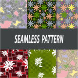 Set of seamless patterns of the six samples. Floral and abstract patterns, vector graphics Royalty Free Stock Photos
