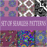 Set of seamless patterns of the six samples. Floral and abstract patterns, vector graphics Stock Images