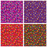 Set of seamless patterns of small elements of different colors. Stock Photo