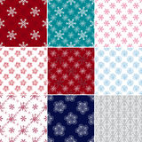 Set seamless patterns with snowflakes Royalty Free Stock Photography