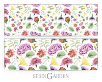 Set of seamless patterns with spring flowers and plants drawn by hand with crayons. Painted by hand with colored pencils illustration isolated on white stock illustration
