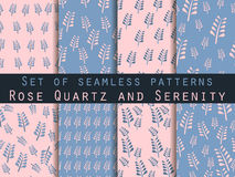 Set of seamless patterns. Spring pattern. Rose quartz and serenity violet colors. Vector illustration. Set of seamless patterns. Spring pattern. Rose quartz and Royalty Free Stock Images
