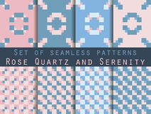 Set seamless patterns with squares. Rose quartz and serenity violet colors. Vector illustration. Set seamless patterns with squares. Rose quartz and serenity Stock Photo