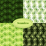 Set of seamless patterns for St. Patricks day. Clover hand drawn seamless pattern vector set Royalty Free Stock Images