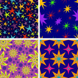 Set of seamless patterns of stars Royalty Free Stock Photo
