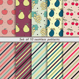 Set of seamless patterns and striped fruit, banana, persimmon, papaya, lime, strawberry Stock Photo