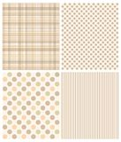 Set of seamless patterns - striped, polka dot Stock Photos