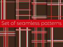 Set of seamless patterns with stripes in a cage. Abstract background. Vector Stock Image