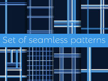 Set of seamless patterns with stripes in a cage. Lines on a blue background. Vector. Illustration Stock Image