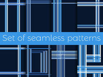 Set of seamless patterns with stripes in a cage. Lines on a blue background. Vector. Illustration Stock Photography