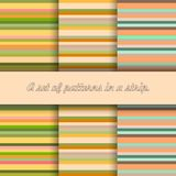 Set of seamless patterns of stripes of warm colors vector illustration
