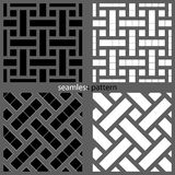 Set of seamless patterns of strips and squares. Stock Photos