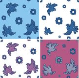 Set of seamless patterns  with stylized doves Royalty Free Stock Image