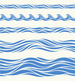 Set of seamless patterns with stylized waves Stock Photos