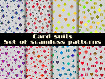 Set of seamless patterns with suits of playing cards. Royalty Free Stock Photography