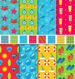 Set Seamless Patterns with Tourism Objects and Equipments. Can Be Used for Wallpapers, Web Page Backgrounds Royalty Free Stock Photo
