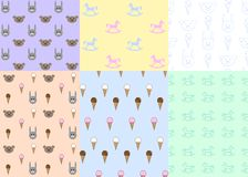 Set of seamless patterns with toys and ice cream, vector illustration. Texture royalty free illustration
