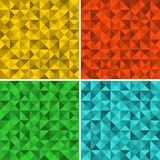Set of seamless patterns with triangles. Stock Images