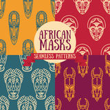 Set of seamless patterns with tribal african masks Royalty Free Stock Photo