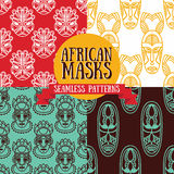 Set of seamless patterns with tribal african masks Royalty Free Stock Images
