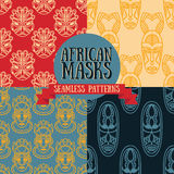 Set of seamless patterns with tribal african masks Stock Photo