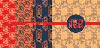 Set of seamless patterns with tribal african masks Stock Photography