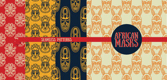 Set of seamless patterns with tribal african masks Royalty Free Stock Image