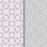 Set of seamless patterns with two circular floral print Royalty Free Stock Photo