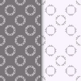 Set of seamless patterns with two circular floral print Royalty Free Stock Image