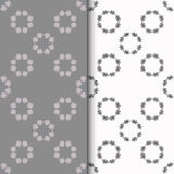 Set of seamless patterns with two circular floral print Royalty Free Stock Photos