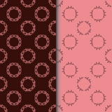 Set of seamless patterns with two circular floral print Stock Photos