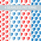 Set of 4 seamless patterns for universal background. Valentines day. Stock Image