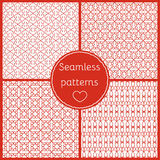Set of seamless patterns for Valentine's day. Romantic backgrounds, patterns of hearts stock illustration
